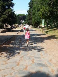 My daughter walking the Via Ostiensis