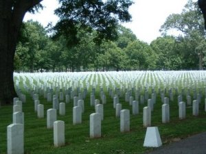 "Row upon row of what markers engraved with ""Unknown U.S. Soldier"" at Memphis National Cemetery."