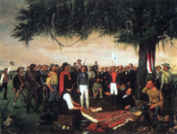 The captured Santa Anna surrenders to the wounded Sam Houston after the Battle of San Jacinto