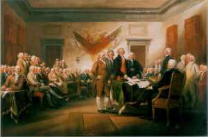Jonathan Trumbull's painting of the signing of the Declaration of Independence.