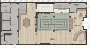 Conceptual drawings for the Hines Center include a labyrinth built into the floor of the sanctuary space.