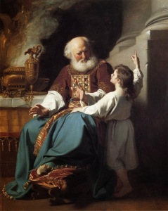 The boy Samuel in the temple with Eli