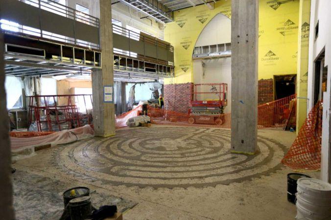 Hines Center labyrinth under construction