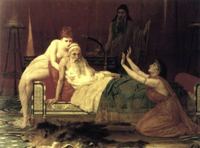Old King David in bed
