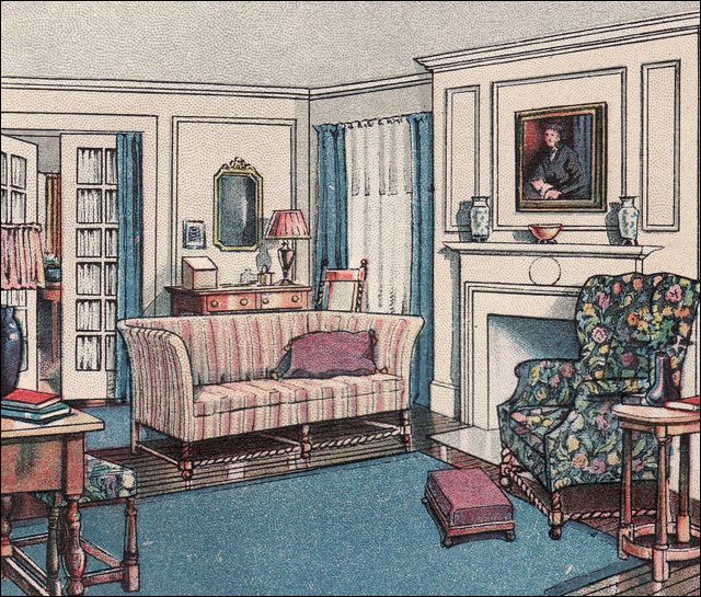 Ladies Home Journal living room, c. 1918